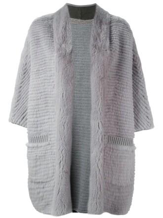 coat fur coat fur women wool grey