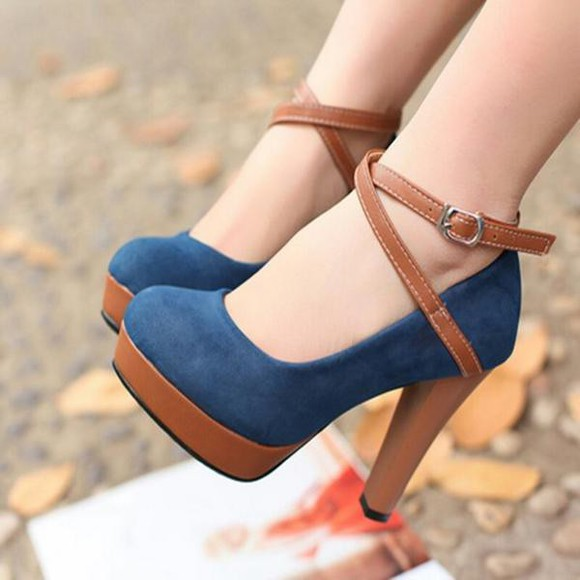 leather sandals strappy heels denim blue brown high heels nubuck high heels