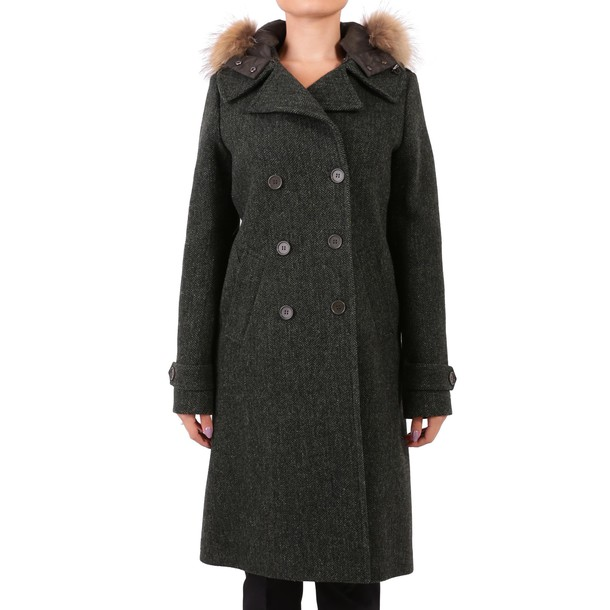 Parosh coat wool coat wool dark green