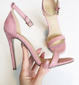 shoes pink heel blush high heel sandals blush pink pink sandals heels suede purple strappy heels tumblr aesthetic suede heels pink heels