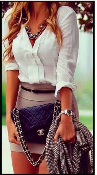 jewels chanel white blouse nude skirt watch necklace cardigan
