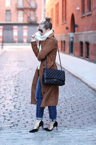 brooklyn blonde blogger coat sweater scarf shoes bag sunglasses classy chanel bag camel coat quilted bag