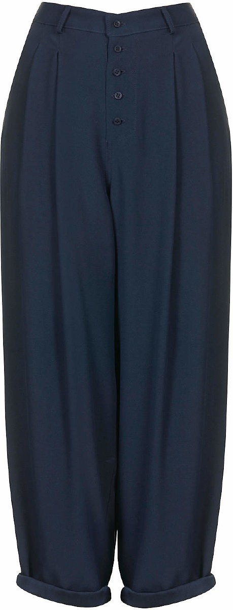 Womens Crepe Mensy Trousers by Boutique - Navy Blue