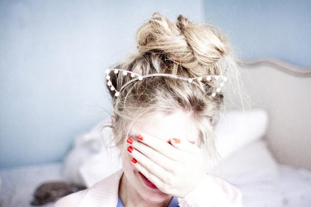 hat cat ears headband pearl messy bun top knot bun jewels hair accessory 2d14d848173