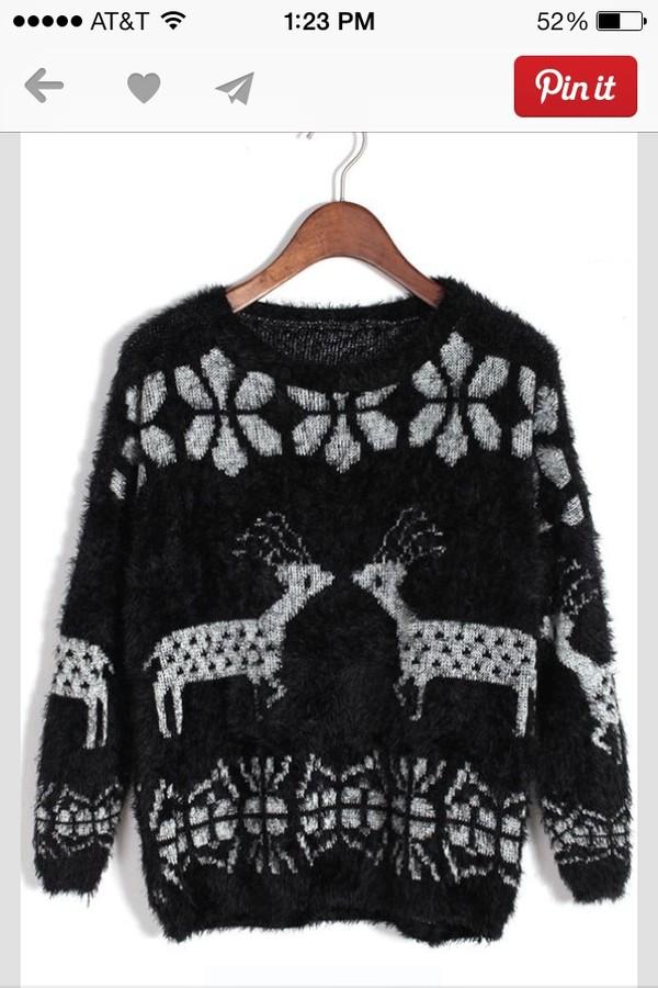 sweater christmas sweater black white deer fuzzy sweater