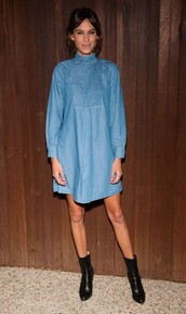 dress,denim,denim dress,alexa chung,shoes