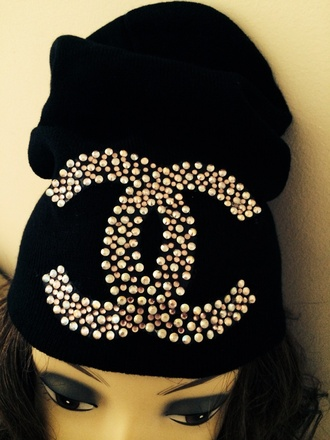 hat black hat black summer outfits cute chanel diamonds swarovski fashion gold