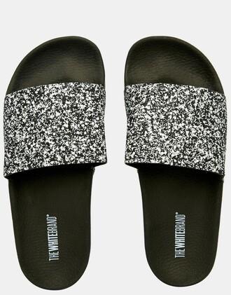 shoes glitter shoes silver shoes slide shoes