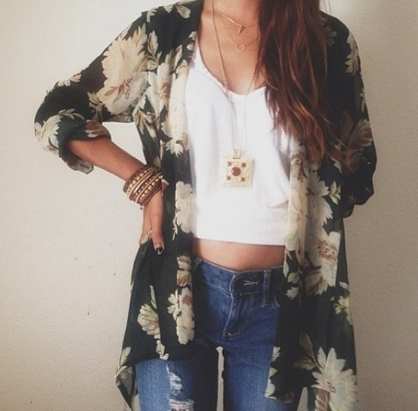 blouse jeans jewels jacket