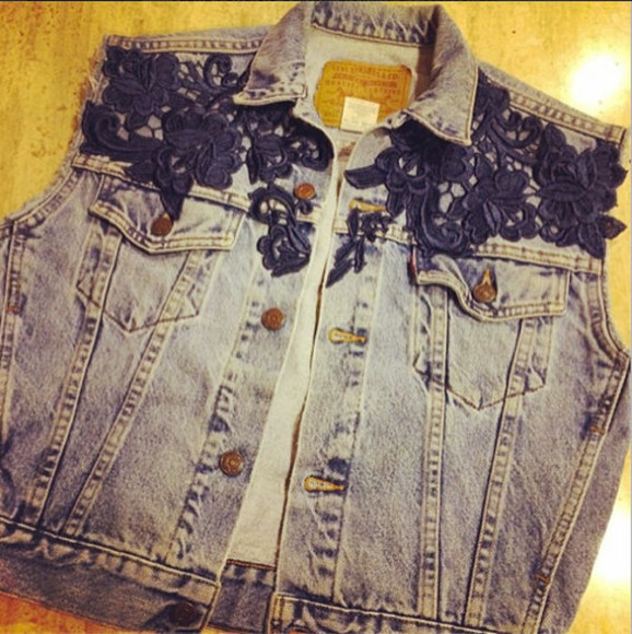 jacket denim vest lace denim vintage levis navy blue levi's appliques