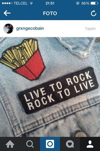jacket denim jacket rock badge