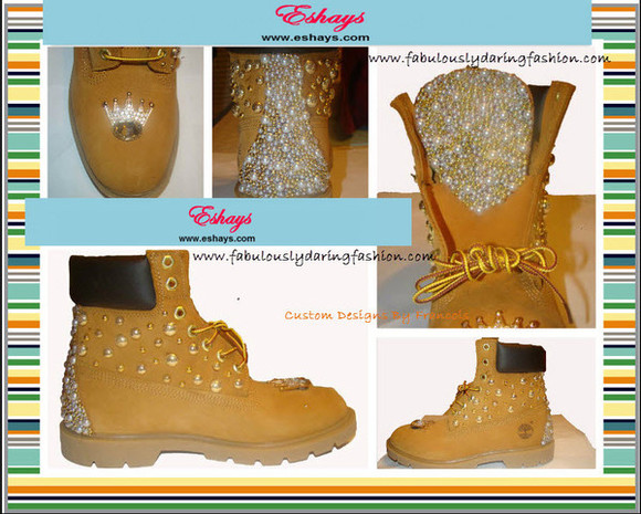 shoes studs gold studs' custom timberland boots eshays.com studded timberlands studded shoes custom timberlands www.eshays.com gold tan timberland