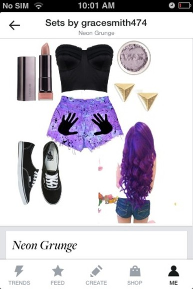 tie dye pants neon purple grunge goth hair curls how to shorts highwaisted shorts makeup skin lipstick natural unnatural polyvore