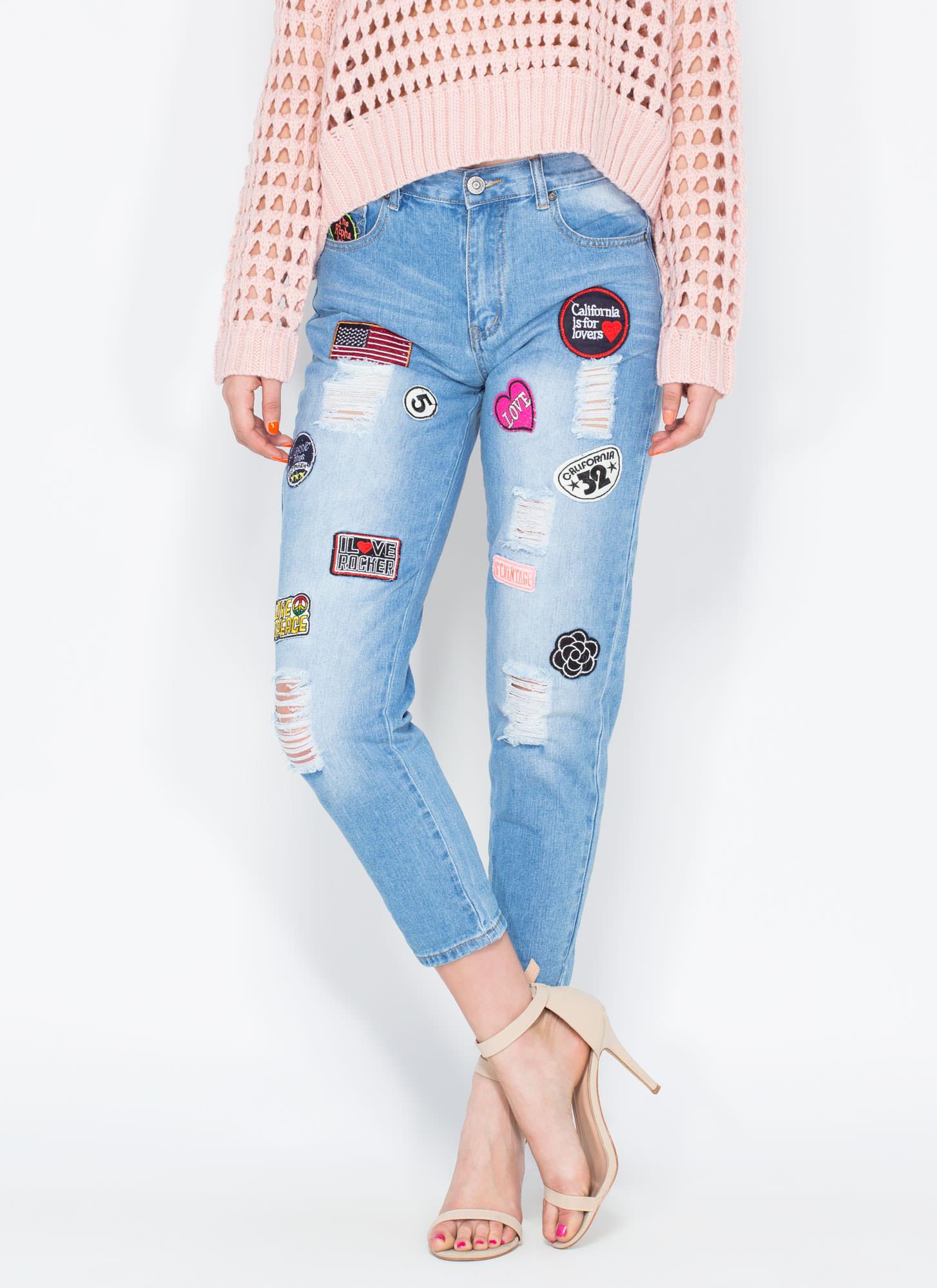 Patch Point Boyfriend Jeans BLUE - GoJane.com