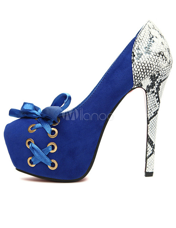 Fashion Blue Spike Heel Snake Print Terry Woman's High Heels - Milanoo.com