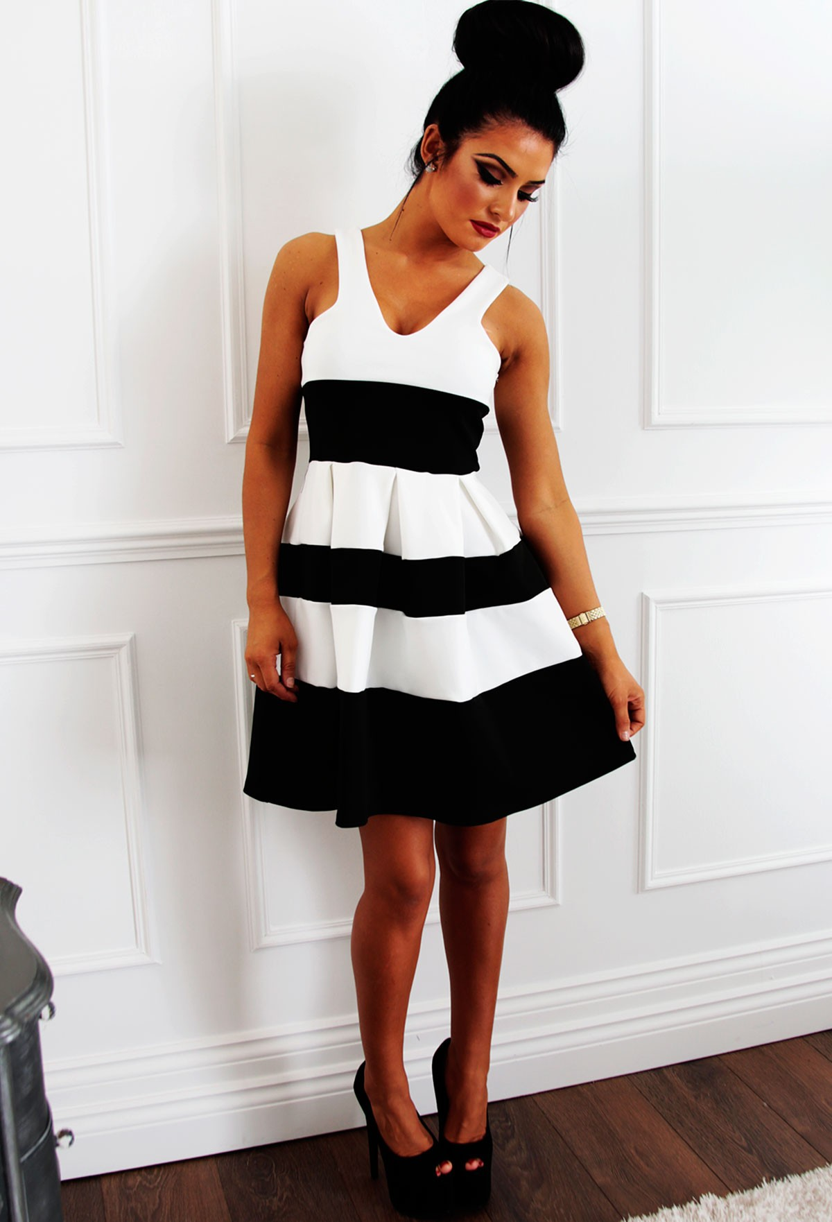 Black and White Striped Skater Dress | Pink Boutique