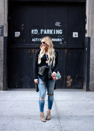 all dolled up blogger jacket sunglasses bag shoes long sleeves black top ripped jeans boots leather jacket