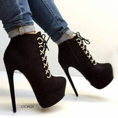 shoes,black boot heal,lace up,black heels