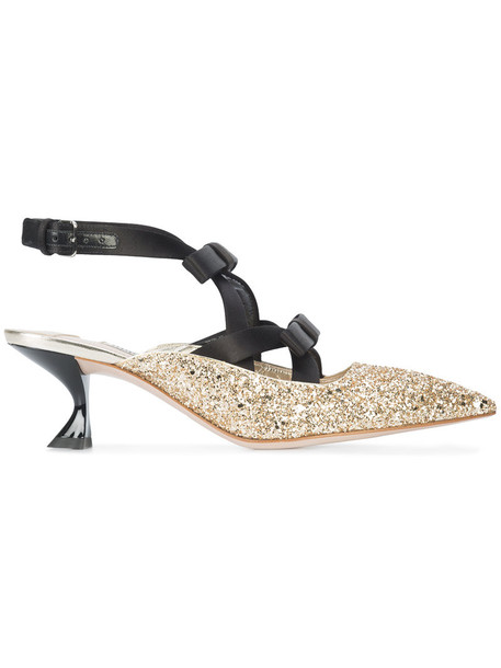 Miu Miu glitter women pumps leather shoes