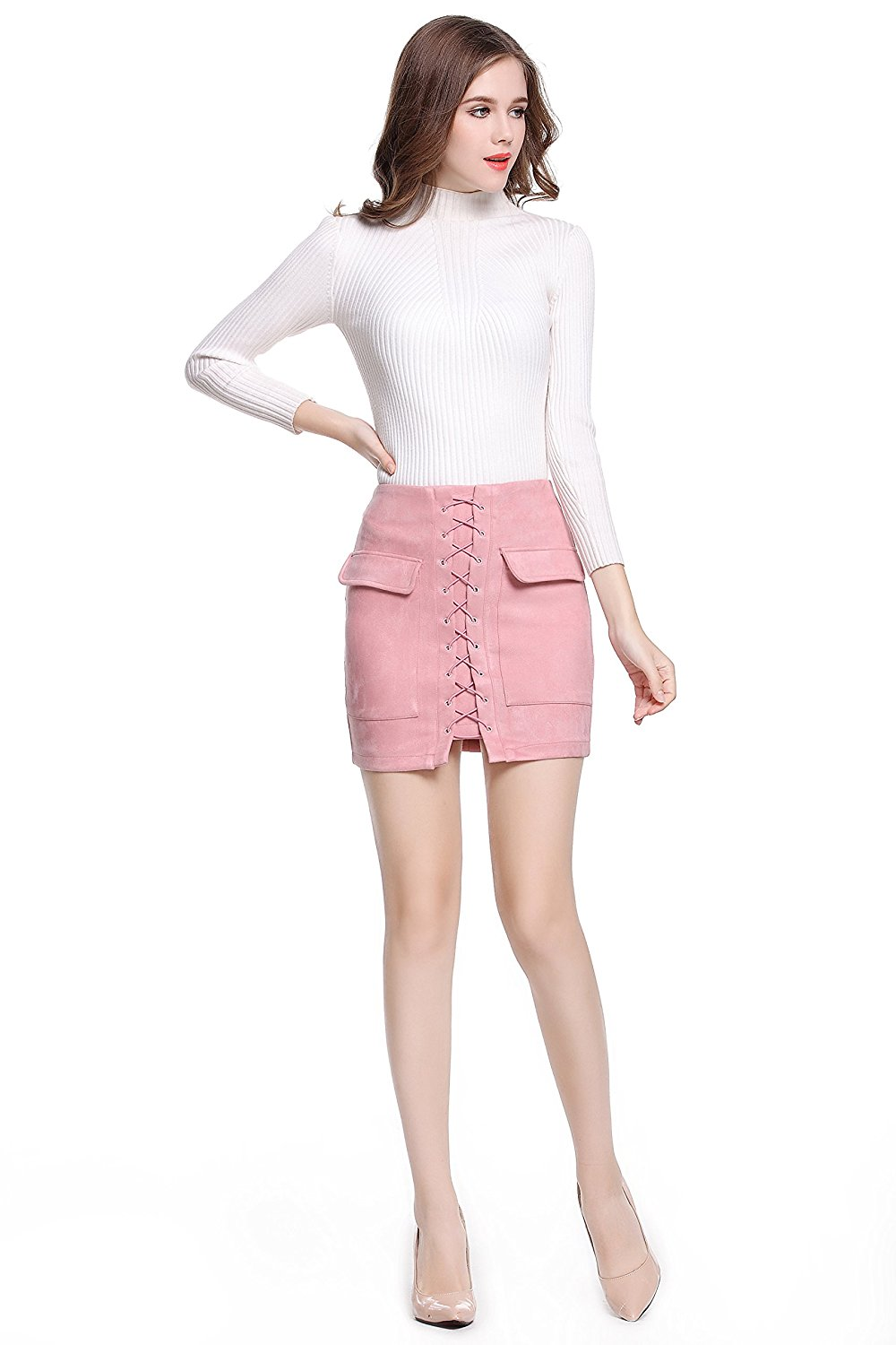 Women's Vintage Tight Suede Lace Up High Waist Skirts External Pocket A-line Pencil Autumn Winter Thick Preppy Mini Skirts at Amazon Women's Clothing store: