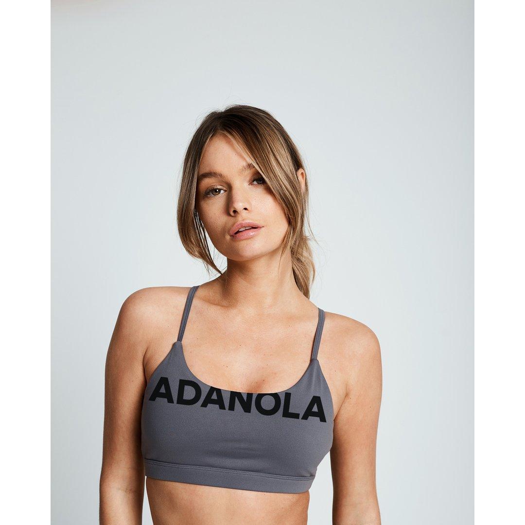 Branded Open Back Bra — Grey