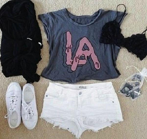 tank top clothes la shirt pants white black shoes cute pretty greyish pinik pink purple clothes shorts t-shirt underwear