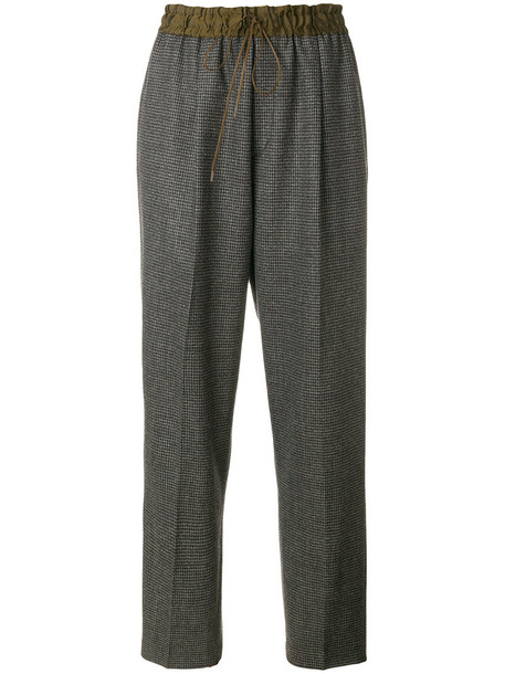 Pas De Calais - patterned straight trousers - women - Nylon/Polyurethane/Cupro/Wool - 36, Grey, Nylon/Polyurethane/Cupro/Wool