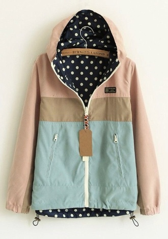 jacket raincoat teal tan rain jacket polka dots coat polka dot inside beige corall mint rain jacket cotton mint beige pink dots print