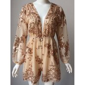 romper,glitter,nude,party,fancy,sparkle,long sleeves,gold,trendsgal.com