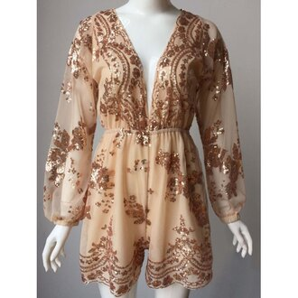 romper glitter nude party fancy sparkle long sleeves gold trendsgal.com