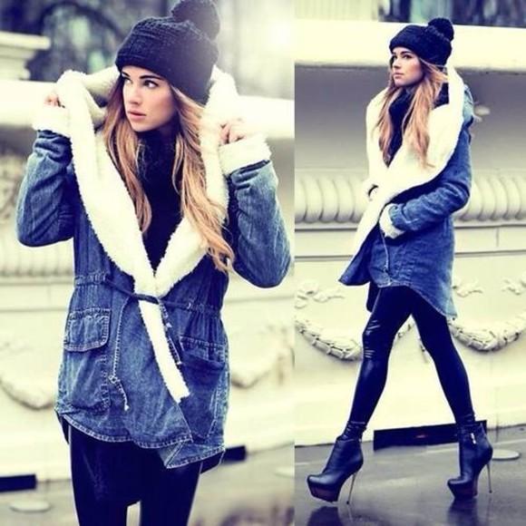 blue girly jeans fur coat hat coat pants shoes