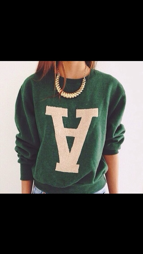 sweater pullover green white