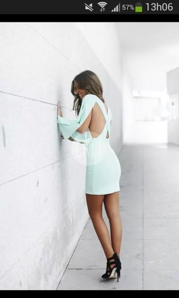 dress cut-out dress mint dress