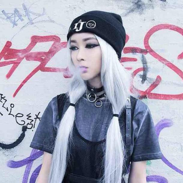 Jewels Black Beanie Grunge Sliver Pastel Hair Shirt