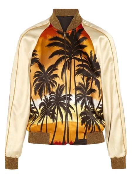 Coconut Palm Print Sequined Trims Bomber Jacket