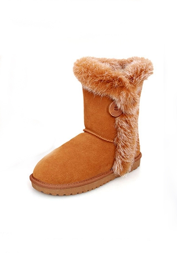 Classic Woolen Fur Snow Boots with Button [FABI1499]- US$95.99 - PersunMall.com
