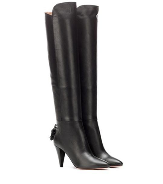Aquazzura Knee-high leather boots in black