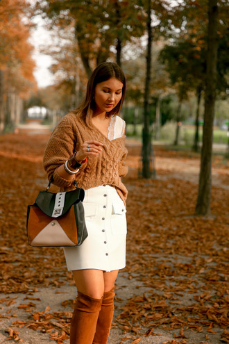 angystearoom blogger bag skirt shoes top sweater jewels fall outfits white skirt boots fall colors lace top