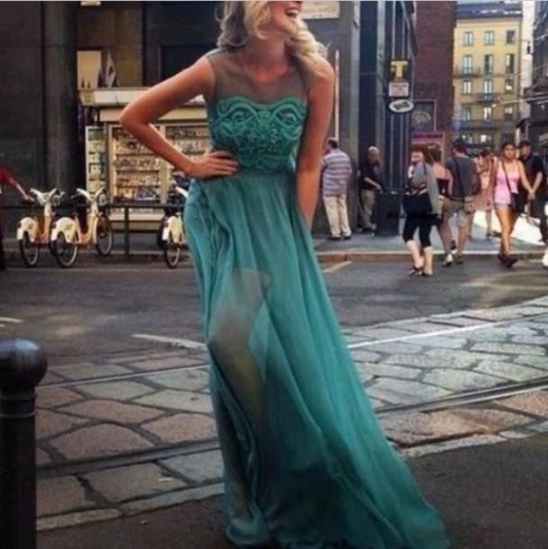 dress long dress sleveless green