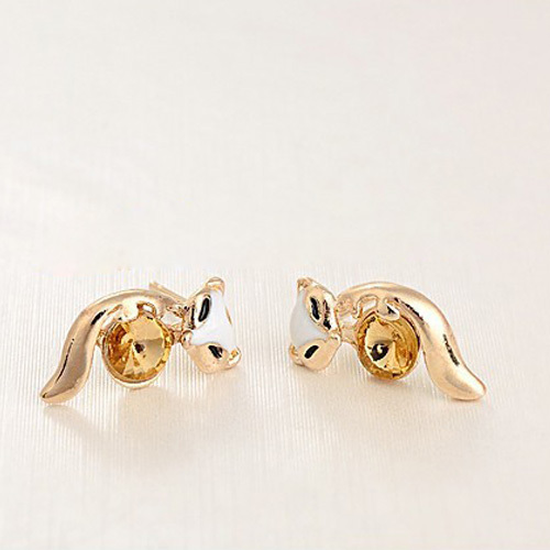 [grxjy5300229]cute fox sparkly rhinestone stud earrings
