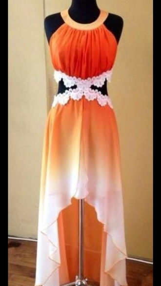 dress prom dress summer dress orange dress floral white cut-out dress beach dress dropped waist cotton dresss cotton rib knitwear summer outfits high-low dresses white dress flowers floral dress fashion wedding dress details girly outfits tumblr girly lovely dip dye dress dip dyed ombre belt orange and white