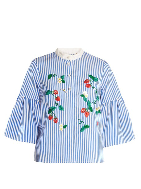 top embroidered cotton strawberry white blue