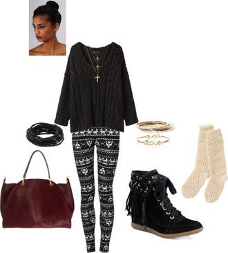 cross necklace jewels sweater tribal print leggings socks purse black sweater combat boots