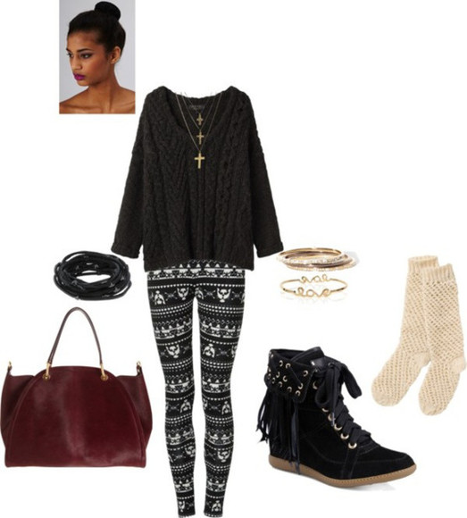 sweater jewels cross necklace combat boots tribal print leggings socks purses black sweater