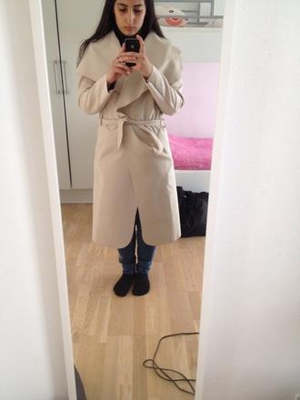 coat beige jacket trench coat boohoo.com