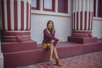 cuppajyo blogger romper shoes bag ankle boots round bag fall outfits