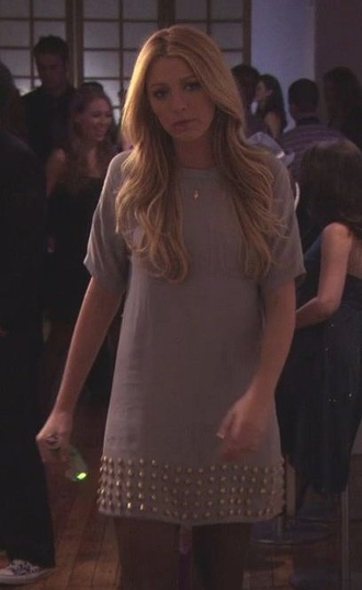 dress tunic t-shirt dress studded studs gold grey blake lively dress party dress casual serena van der woodsen