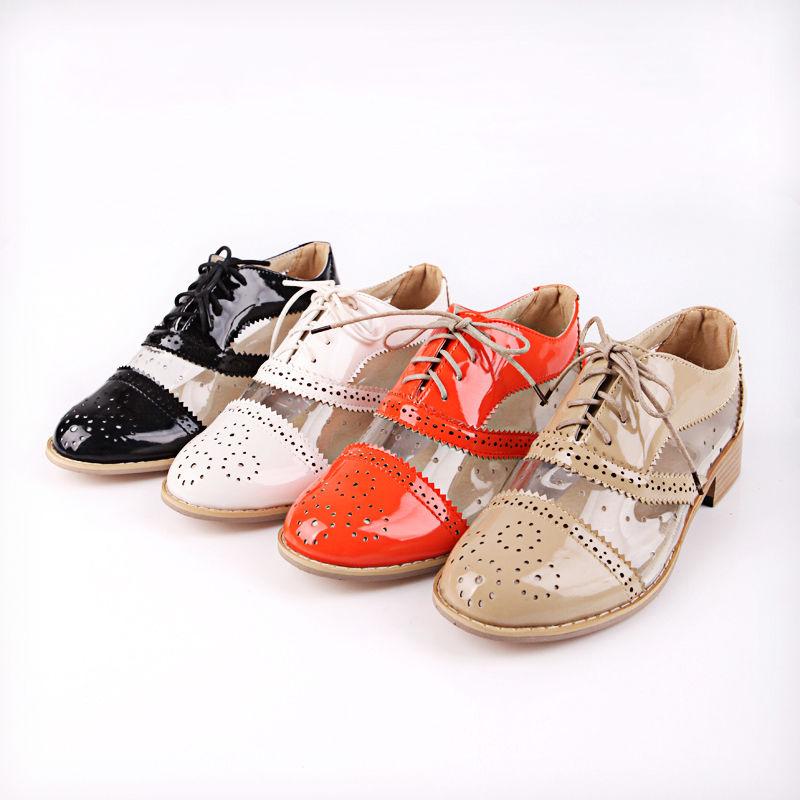 New Women transparent shoes Classics dress Lace Ups Oxfords Low Heels | eBay