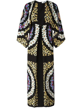 women floral print black silk dress