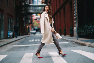 not jess fashion blogger coat sweater pants bag shoes jewels fall outfits fall coat pumps beige coat grey pants